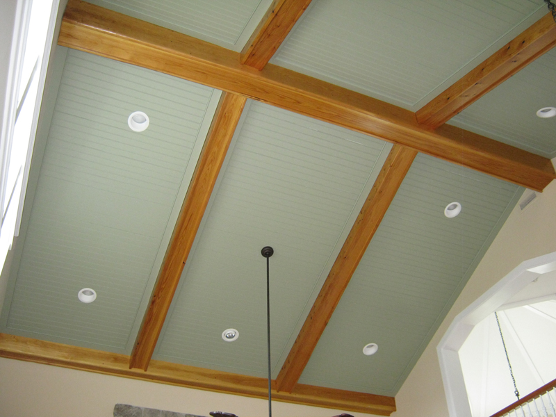 Custom beamed ceiling