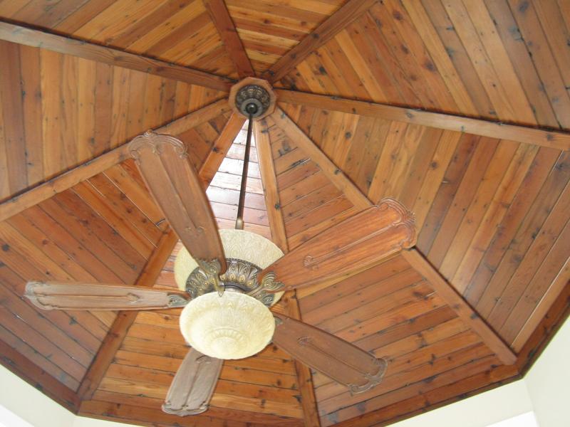 Unique re-claimed redwood ceiling treatment view 2